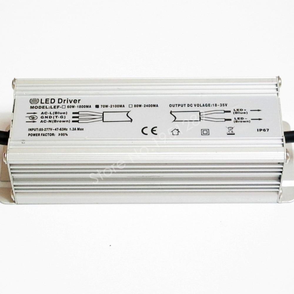Светодиодный драйвер IP67 70 Вт 2100mA, 18 В-35 В пост. Тока, 110 В, 220 В, 277в, 10 серий, 7 параллельных светодиодных ламп, сертифицированный CE