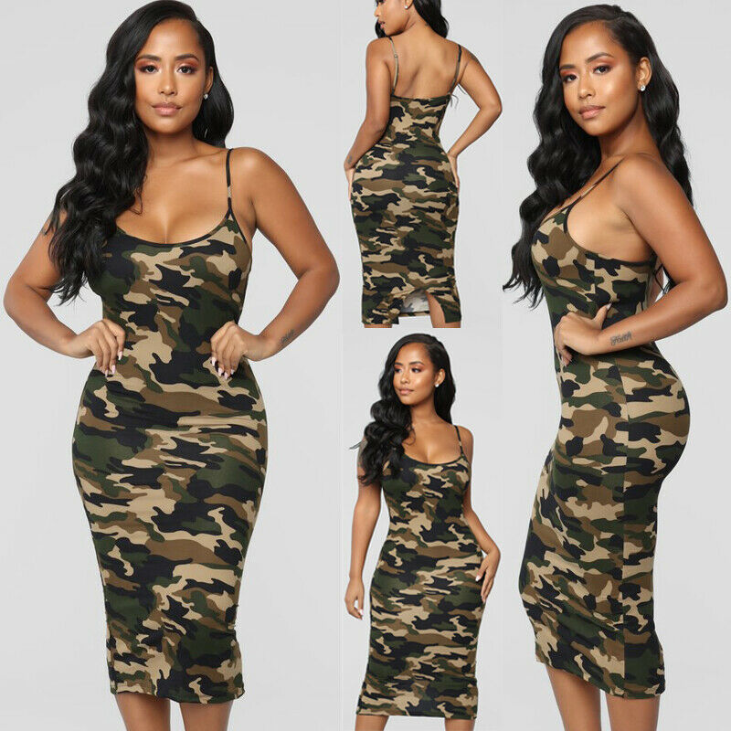 3X Plus Größe Damen Sexy Bodycon Camo Kleid 2019 Damen Party Clubwear Sexy Lange Sommerkleid Backless Grün Maxi Koreanischen Kleid NEUE