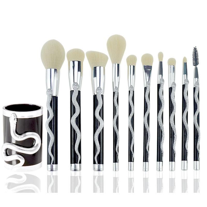 7/10pc Snake Shape Makeup Brushes Set Foundation Powder Eyeshadow Contour Concealer Blush Comestic Brush Kit Beauty Tool 10