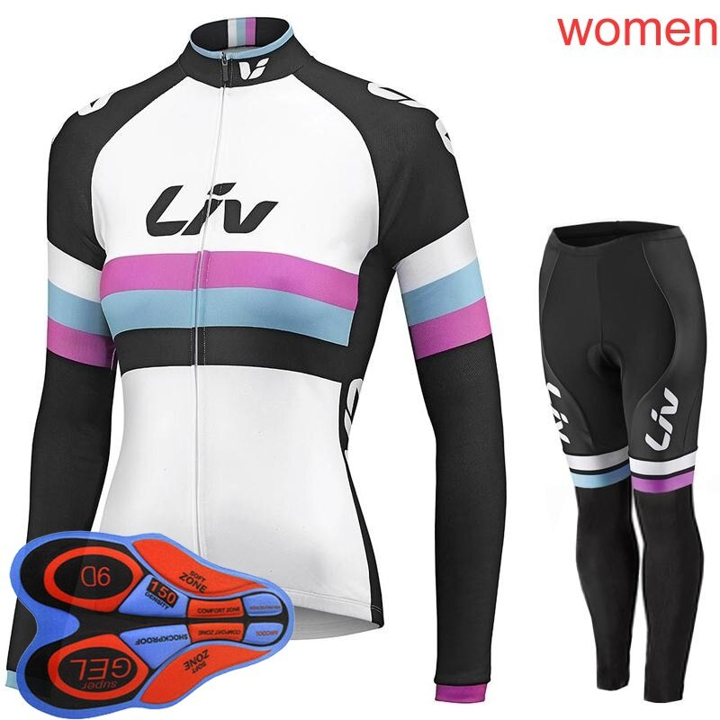 2019 Liv mujer deportes al aire libre primavera bicicleta ciclismo manga larga jersey bib pantalones conjuntos 9D gel pad ropa deportiva L1005