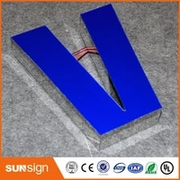easy installation wall mounted facelit resin letter sign with led light