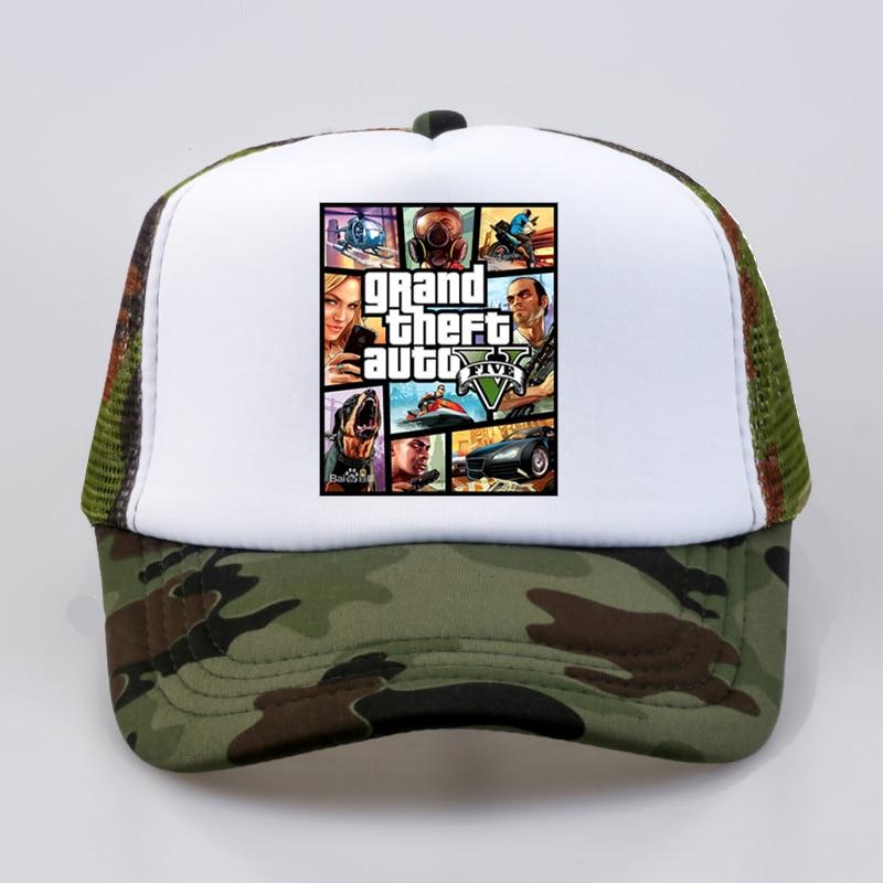 fashion Grand Theft Auto V 5 GTA Baseball caps Hot Game Fans Cap Cool Summer Mesh Net Trucker Caps Hat