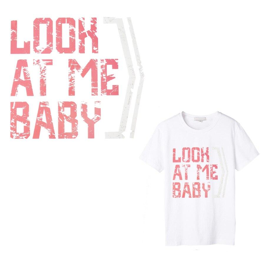 Papel de transferencia térmica de bebé Look, decoración con parches, pegatina de texto para camiseta, parches de transferencia de hierro para ropa de niña 1 Uds.