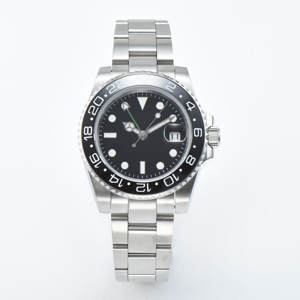 automatic men watch 40 mm black GMT Ceramic bezel sapphire glass for watch black dial stainless steel bracelet movement