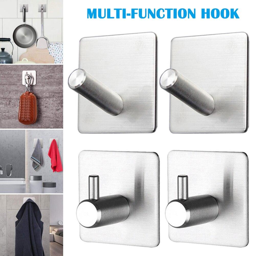 Ganchos adhesivos de pared de 4 uds, ganchos de comando resistentes con palo de acero inoxidable, baño, cocina, oficina, CLH @ 8