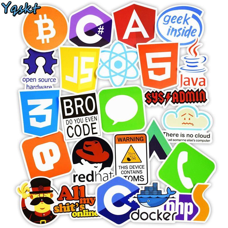 50 шт. интернет Java JS Php Html Cloud Docker Биткоин язык программирования приложение логотип крутые наклейки для ноутбука автомобиля DIY наклейки