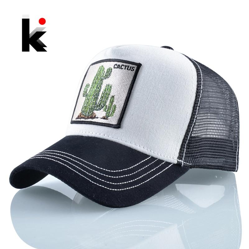 Women's Baseball Caps Summer Breathable Mesh Hats Men Cactus Embroidery Snapback Cap Outdoor Visor Hat Streetwear Hip Hop Bone