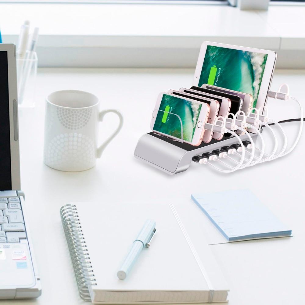 Estación de carga inteligente, organizador para teléfonos inteligentes, tabletas, otros dispositivos, 6...