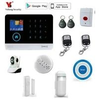 Yobang     systeme dalarme de securite domestique  wi-fi  GSM  ecran tactile 2 4    avec detecteur de mouvement PIR
