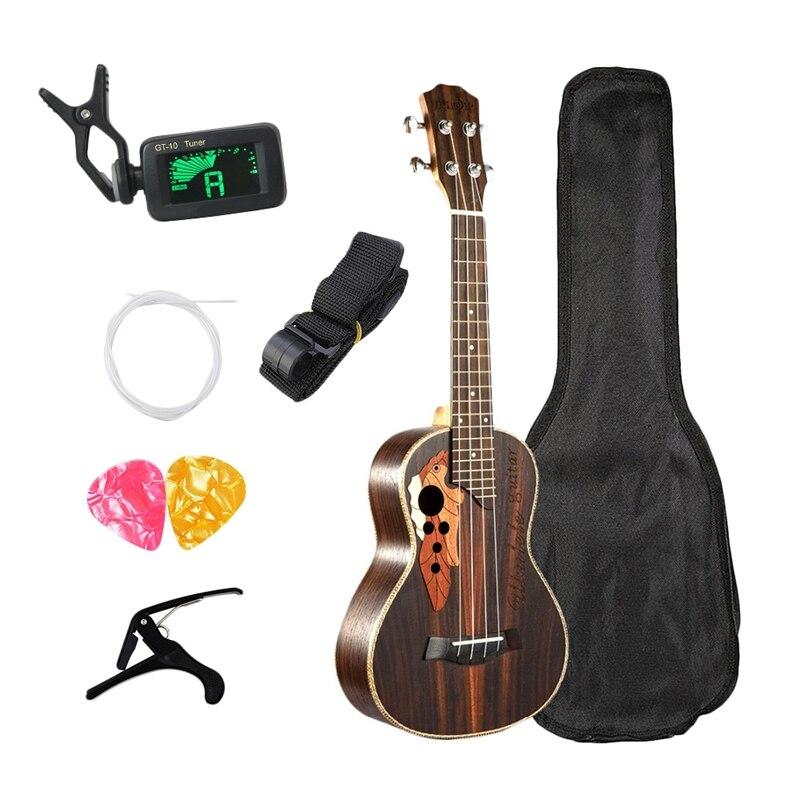Kit de ukelele de concierto caliente de 23 pulgadas, ukelele de palo de rosa, 4 cuerdas, Mini Guitarra hawaiana con bolsa, sintonizador, Capo, picaduras de correa para empezar