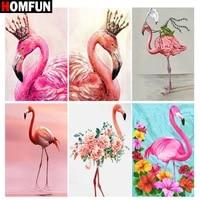 HOMFUN     peinture diamant theme  Animal flamingo   broderie complete 5D  perles rondes ou carrees  points de croix  a faire soi-meme  decoration dinterieur  cadeau