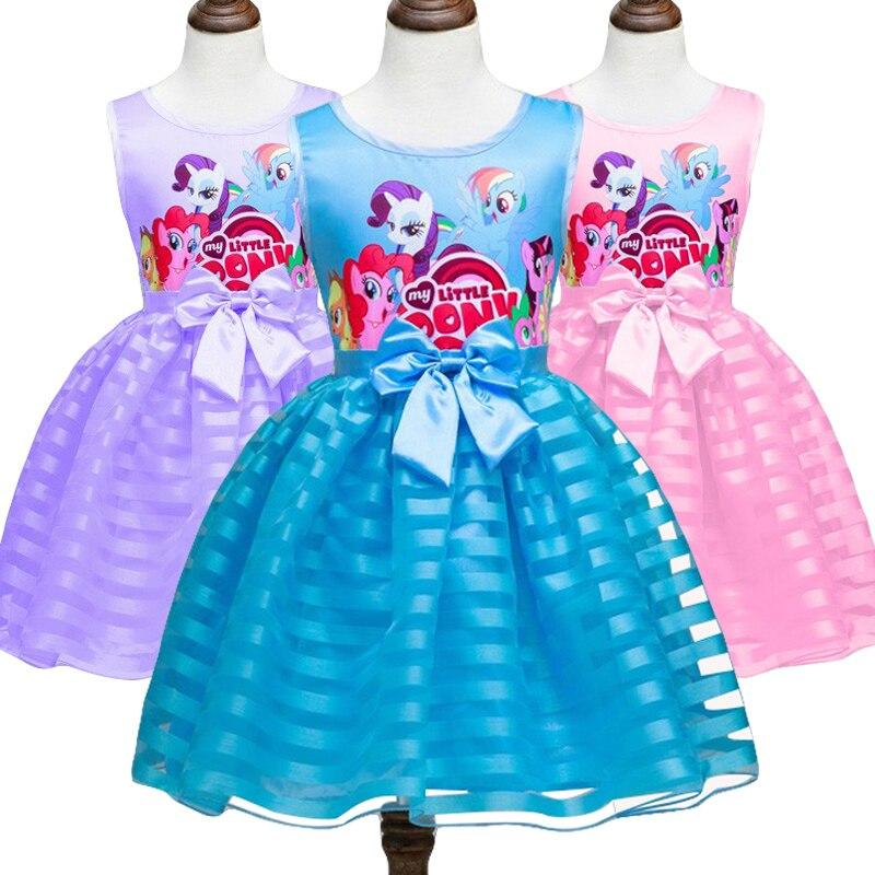 Платье для маленьких девочек с принтом «Мой Маленький Пони», вечерние платья принцессы с героями мультфильмов, летняя одежда, 2019