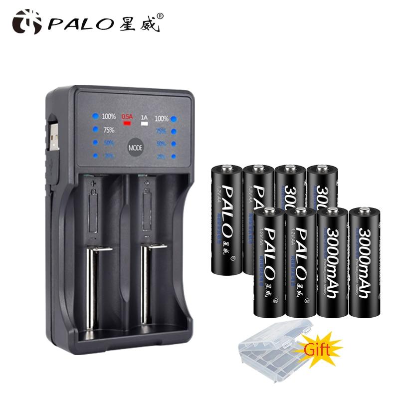 Зарядное устройство PALO со светодиодный ным дисплеем и USB для аккумуляторов Ni-MH, Ni-CD, AA, AAA, li-ion, 3,7 в, 18650, аккумуляторы AA, 3000 мАч