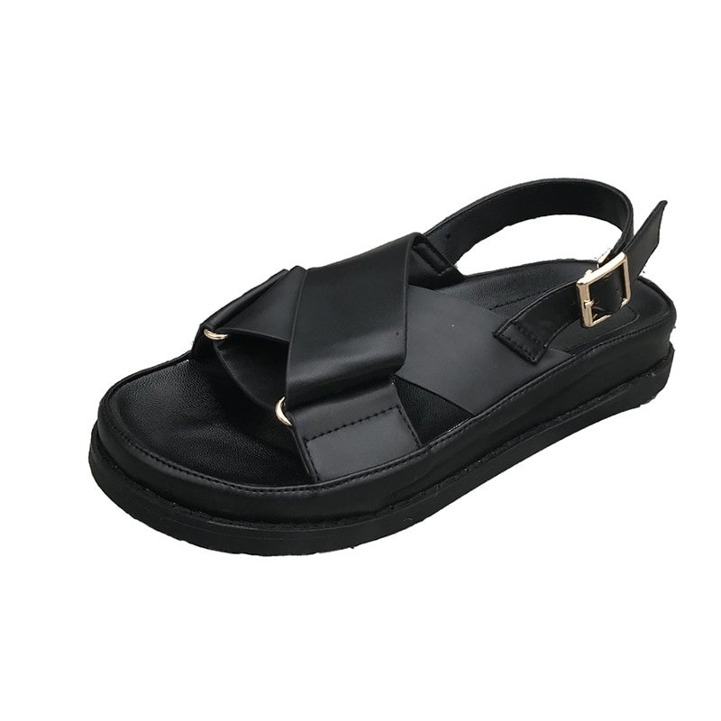 Sandalias de verano para mujer estilo romano 2019 sandalias de plataforma plana de cuero genuino para mujer zapatos negros sandalias de playa de verano para mujer