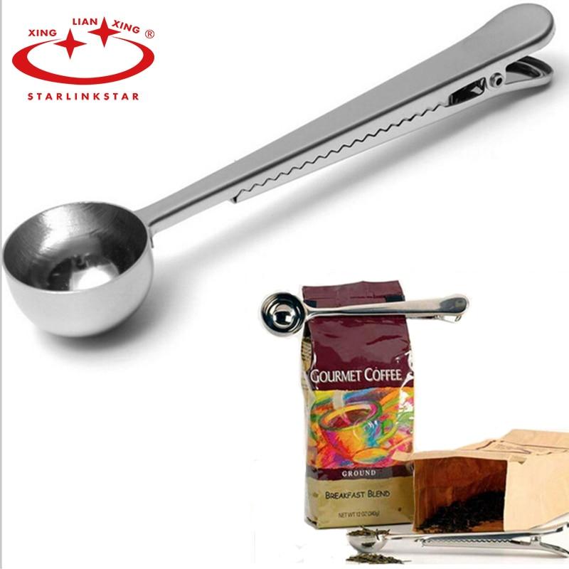 Satrlinkstar 1 pc multifunction colher de café aço inoxidável prata com clipe de saco 1 xícara de chá puer cezve para colher de medição de café