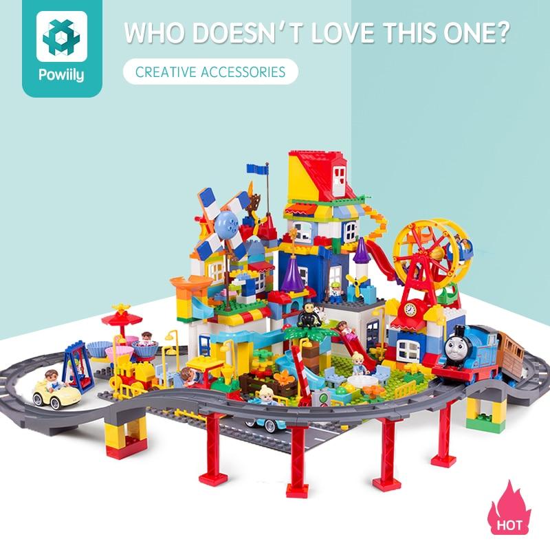 powiily Train Bridge Building Blocks DIY Assembly Creative Educational Train Tracks Children Toys Compatible Duplo Bricks set