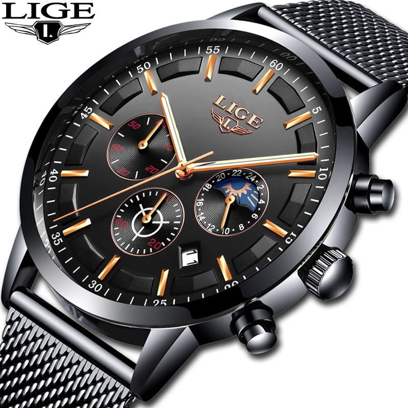 Relogio LIGE Mens Watches Top Brand Luxury Casual Quartz Wristwatch Men Fashion Stainless Steel Waterproof Sport Chronograph+Box 2020 lige watches mens top brand luxury sport quartz chronograph stainless steel men watch fashion waterproof clock reloj hombre