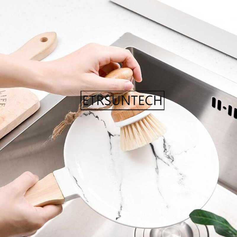 100 pcs Criativo Bamboo Handle Escova de Limpeza Pan Prato Tigela Pote Escova de Limpeza Da Cozinha do Agregado Familiar Ferramentas