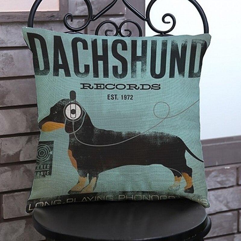 Винтажная сумка в виде таксы, черный, серый, коричневый цвет, для собак, щенков с гарнитурой, домашний декор, подушки из льна, наволочки 45х45 см, Funda De Cojin