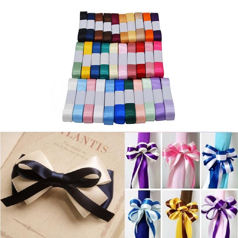 Nueva cinta de satén de seda 15mm 5 m/lote decoración para fiesta de boda tarjeta de invitación regalo envoltura DIY arco artesanía suministros riband