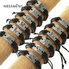 Zodiac Mannen Sieraden Armband Lederen Armbanden Voor Vrouwen Bedelarmband Ram Virgo Taurus Kanker Capricom Leo Gemini Libra