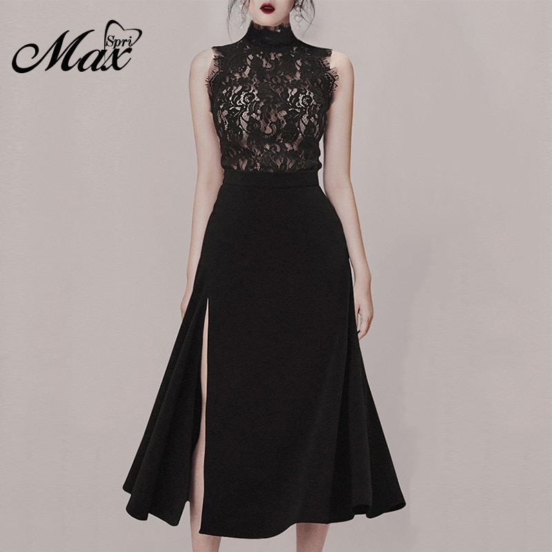 Max Spri 2019 New Style Women Sets O-neck Floral Lace Sleeveless Top Side Slit High Waist Midi Skirt