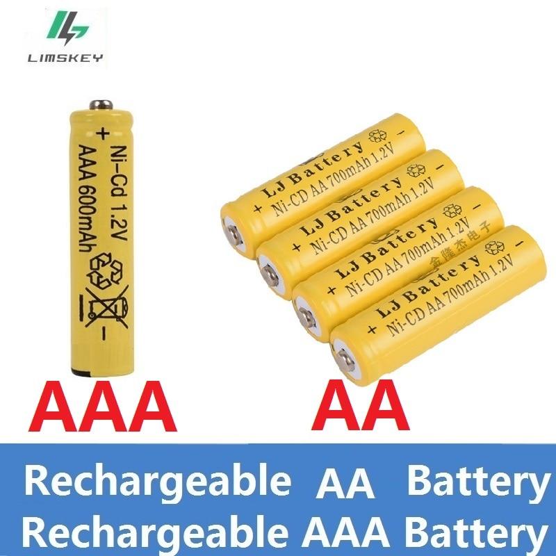 1.2v ni-cd/Ni-MH Batteries rechargeables (pile AA/AAA) 600 mAh/700 mAH Lithium Li-ion batterie lampe de poche laser jouets batterie