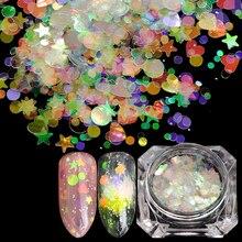 1 boîte AB couleur Nail Art paillettes mélange coeur étoile lune sirène acrylique paillettes Holo forme étincelle pointe ongles Art décoration SA678-05