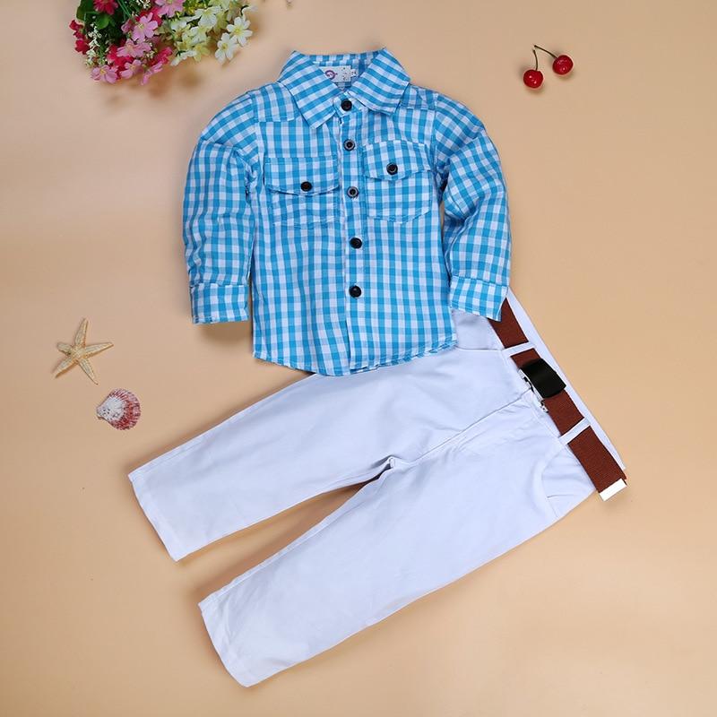2020 nueva ropa de moda para niños conjunto de Camisa de algodón a cuadros holgada para niños + Pantalones + cinturón 3 piezas conjunto de ropa para niños minion