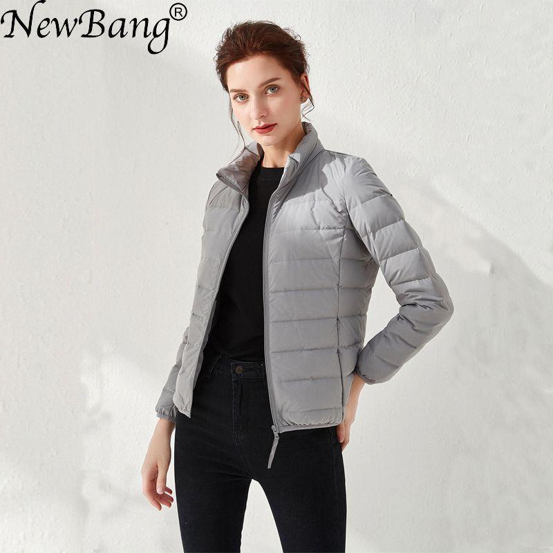 Newbang jaquetas para baixo das mulheres ultra leve pato para baixo tecido fosco casaco de pouco peso quente feminino blusão parka mais casacos