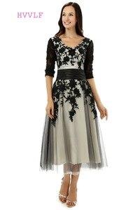 Женское ТРАПЕЦИЕВИДНОЕ вечернее платье, черное Тюлевое кружевное платье до щиколотки с V-образным вырезом и аппликацией, платье для выпускн...