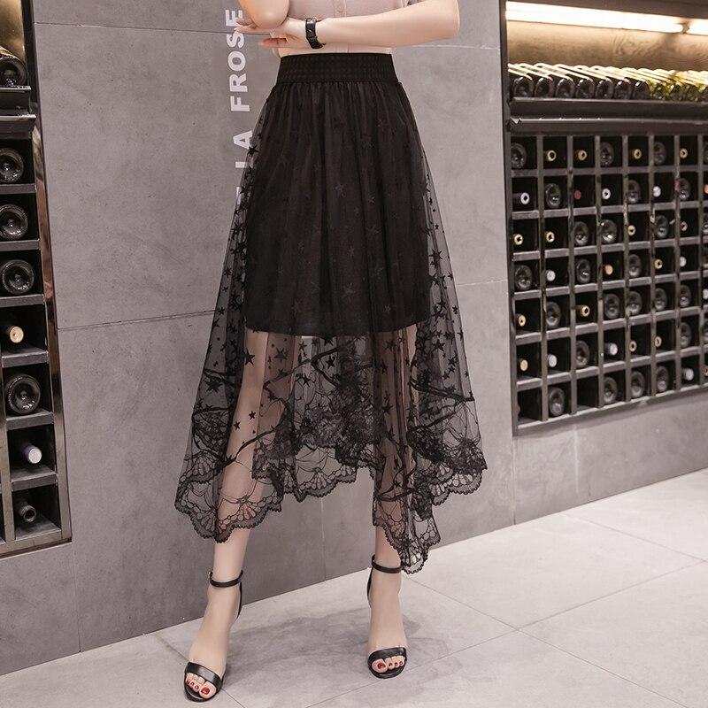Saias do vintage das mulheres 2018 primavera verão estilo coreano vestido feminino irregular longo nova cintura alta saias pretas feminino a5013