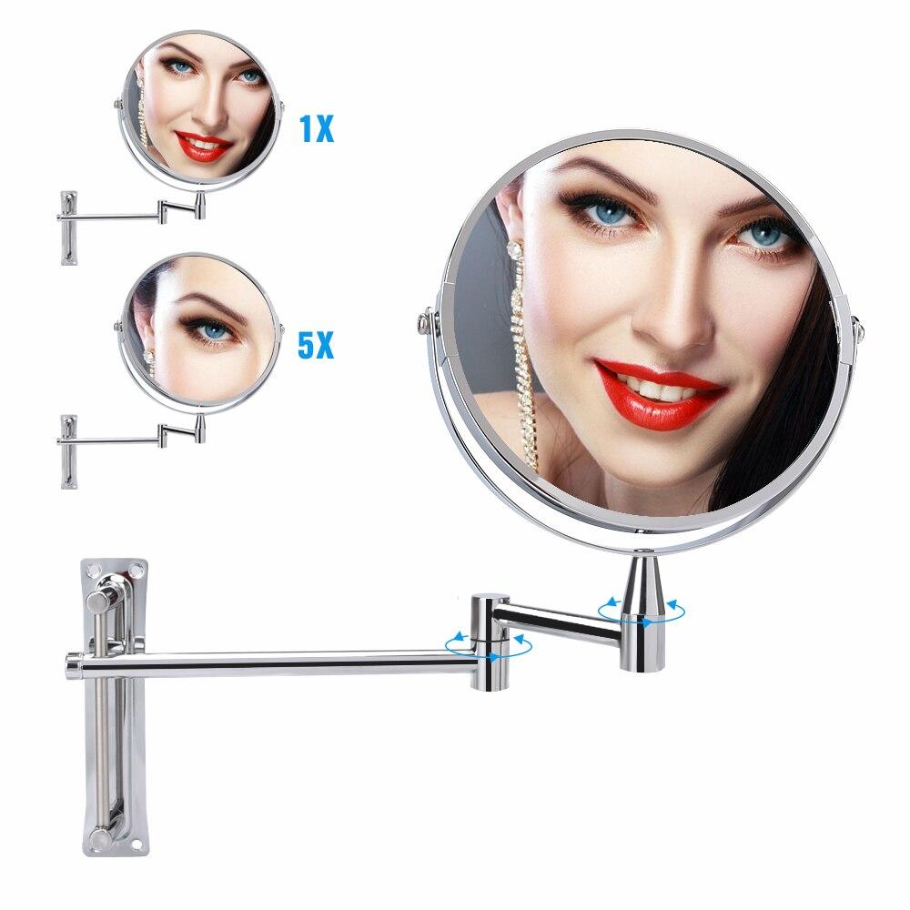 Espejo de Baño 1 x/5X espejo de maquillaje de aumento montado en la pared 360 ajustable giratorio doble cara espejo extensor de brazo cosmético