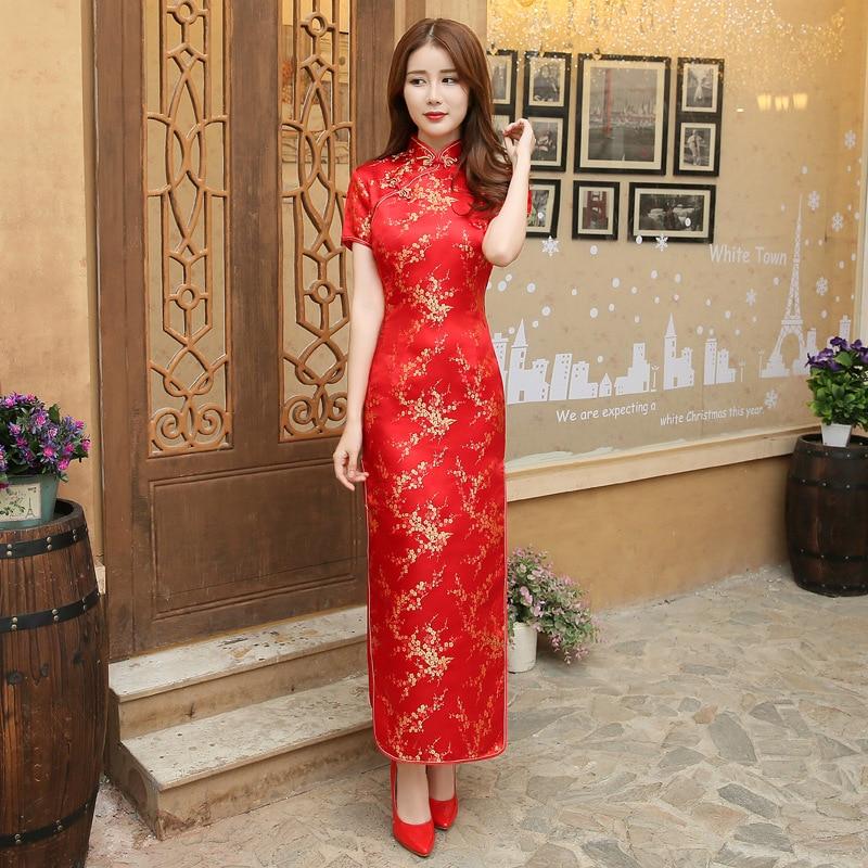 Red Chinese Women Dress Vintage Satin Qipao Sexy Long Slim Cheongsam Hot Sale Flower Dress Size S M XL XXL 3X4XL 5XL 6XL JA13