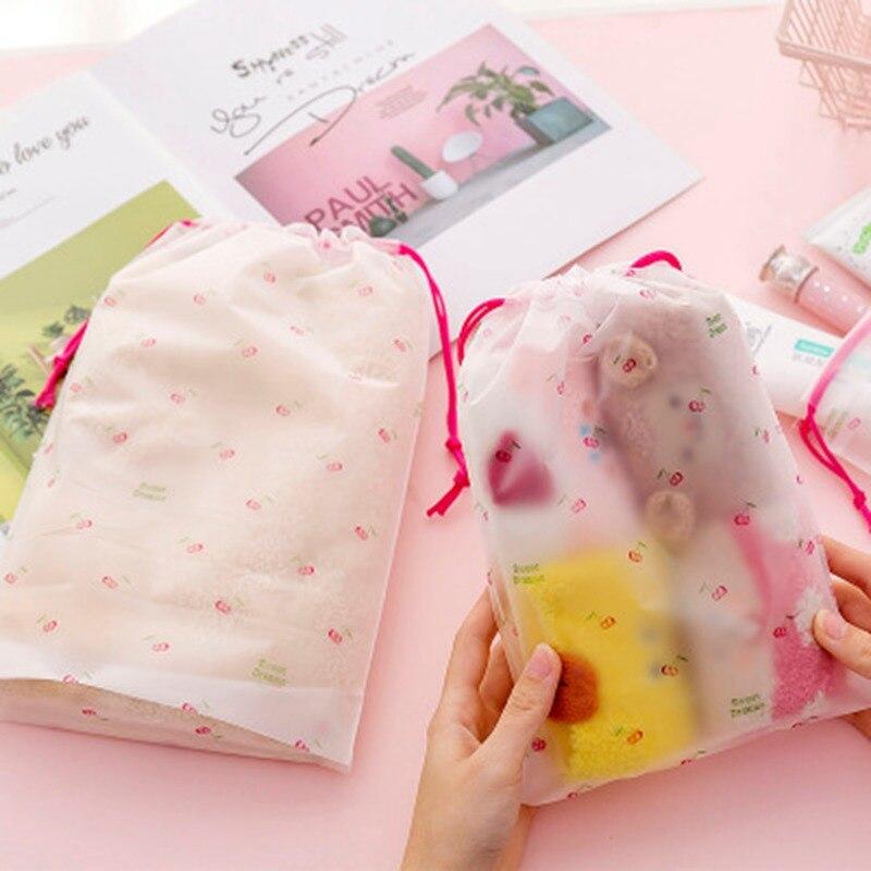 Viagem transparente esfrega cereja cosméticos maquiagem saco caso feminino zíper compõem banho organizador de armazenamento bolsa de higiene pessoal lavagem kit
