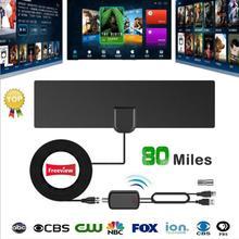 80 Miles 1080P HDTV Indoor Digital TV DVB-T2 Antenna with Signal Booster Amplifier TV Radius Surf Fox Antena TV Antennas Aerial