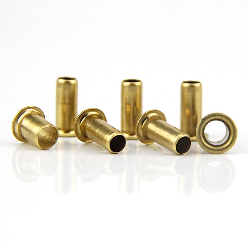 100pcs M1.9 rebite oco de cobre único tubo via através do núcleo de milho fivela rebites prego parafusos parafusos de cobre chapeado de ferro