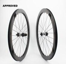 Farsports FSC50-CM-25 DT350 Tubeless frein à disque 50mm cyclisme roue en carbone, 6 boulons à travers laxe carbone cyclocross roue à pneu