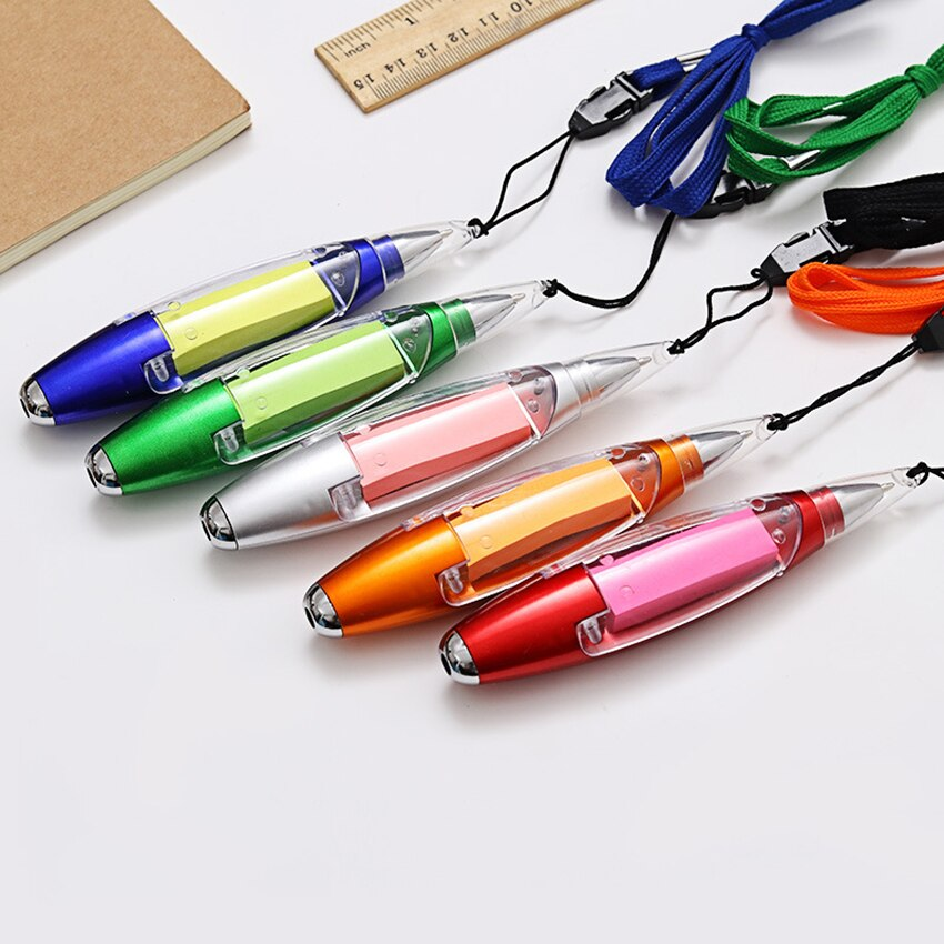 AliExpress - 1pc 3in1 multi function Halter ballpoint pen Note Paper Flashlight Stationery with String Color Assorted school supplies
