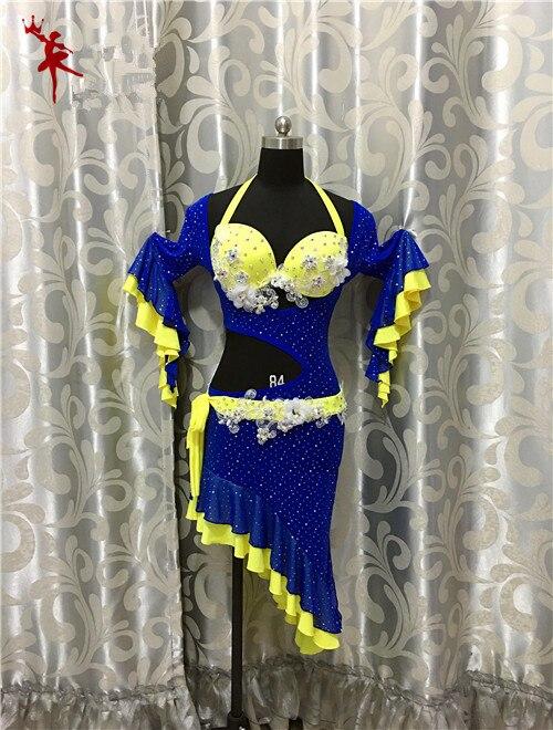 Traje de danza oriental del vientre de la India gitana, traje de baile, ropa, sujetador, cinturón, bufanda, anillo, falda, conjunto de vestido, traje 026
