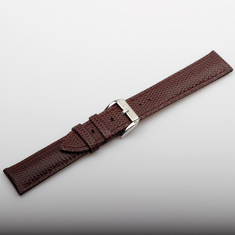 Купить с кэшбэком Wholesale Genuine Leather Watchband 20MM Brown Lizard Pattern Cow leather Watch Band Men Women Real Leather Watch Bracelets
