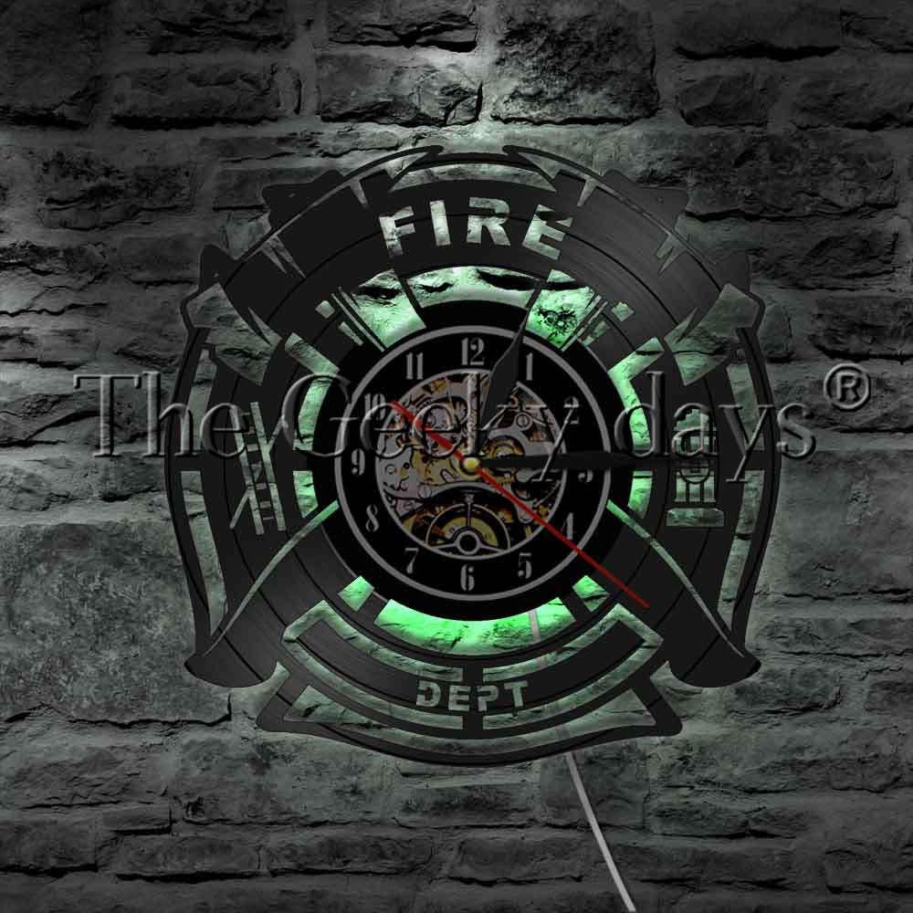 Firefighter Rescue Sign Decorative Wall Light Vinyl Record Wall Clock Fire Department Fire Truck Hose Ladder LED Light