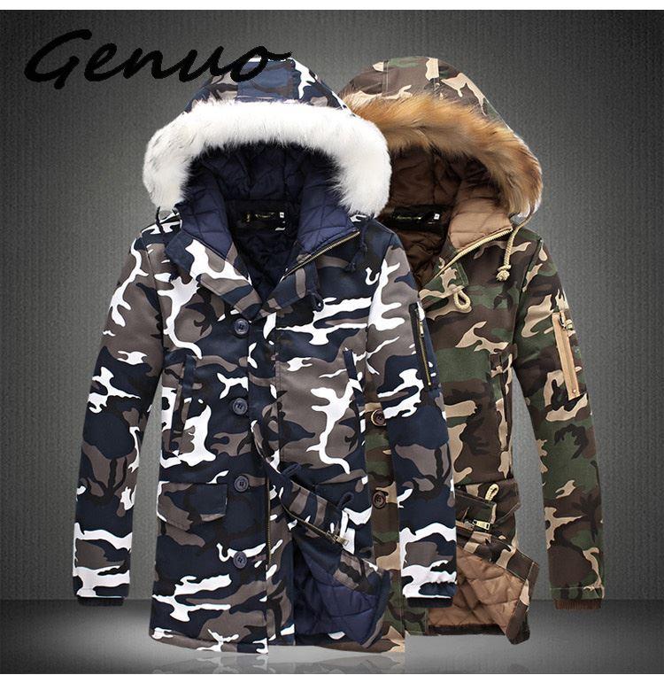Genuo Новые мужские куртки с меховым воротником камуфляжные зимние пальто мужские парки утепленные мужские куртки брендовая одежда с капюшон...