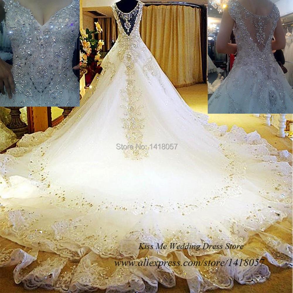 عينة حقيقية من فستان الزفاف الفاخر 2015 ببلورات الراين والدانتيل فستان زفاف للأميرة الملكي مخصص فيستدو دي كازامنتو