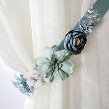 Longe Tulle à boucle magnétique faite à la main   Poinçon gratuit, attache au dos de personnalité, rideau décoratif à fleurs 3D,