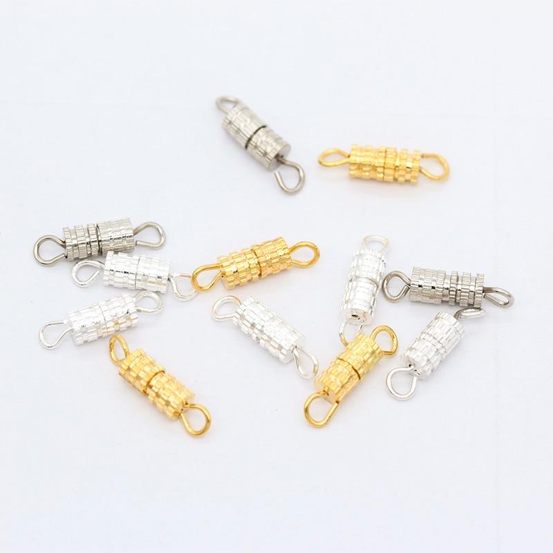 20p 4x14mm srebro pozłacane miedź metalowa beczka klamrami śruba zapięcie klamra garnitur dla naszyjnik bransoletki rękodzieło komponenty do biżuterii diy