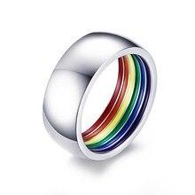 Anel de aço inoxidável colorido arco-íris dentro lgbt declaração jóias agradável presente para amigo lésbica gay anéis da família para homem