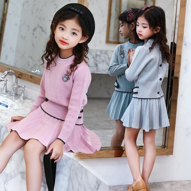 Conjunto de Falda de punto para niñas adolescentes otoño 2019, suéter de manga larga y falda tutú, conjunto de ropa para niños de 2 uds