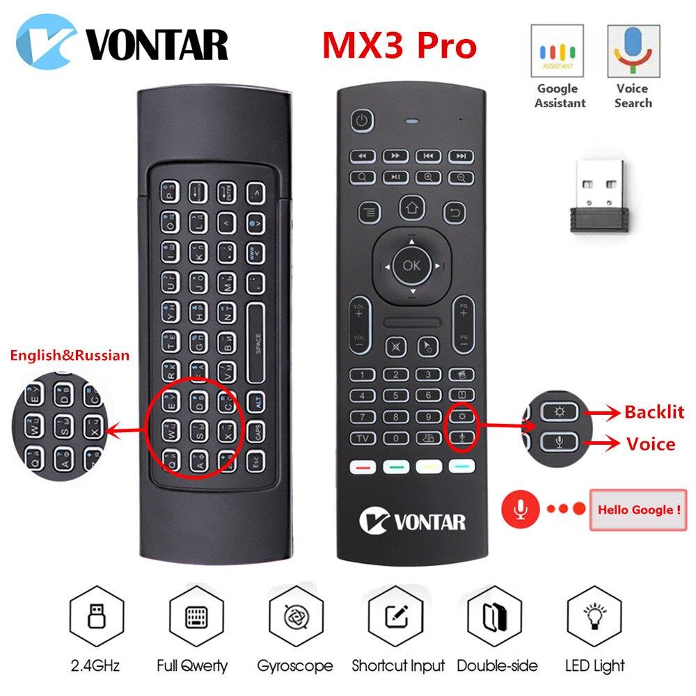 MX3 Mini Drahtlose Tastatur Air Mouse mx3 pro Hintergrundbeleuchtung Smart stimme Fernbedienung 2,4 GHz IR Lernen Für Android TV box H96 MAX X3
