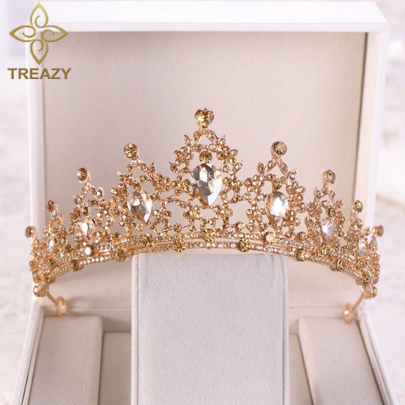 Treazy luxo champanhe/azul real/multicolorido cristal coroas de noiva tiaras pageant festa casamento acessórios para o cabelo presente aniversário